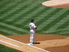 New York Yankees Mark Teixeira setting up on first base