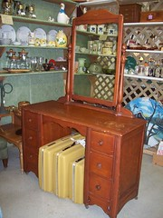 Woodyswag Recycle 4 U Addoway Storefront by Paula Dean offers Antique Maple Vanity and Mirror 40's Springfield MO