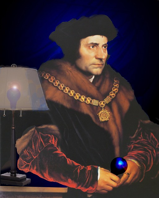 Sir Thomas More by Hans Holbein black light bulb 8-5a