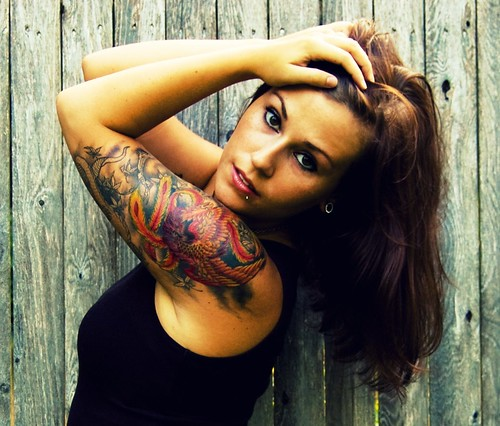 summer portrait selfportrait girl self fence ma outside massachusetts newengland headshot tattoos lipring nosering brunette mass piercings sleeve plugs gauges bridgewater halfsleeve 00g