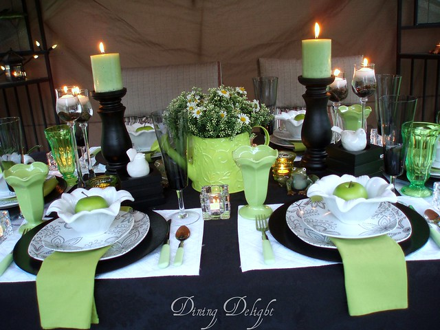 Black White Amp Lime Green Tablescape Explore Dining