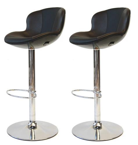 tabouret de bar golf x2 noir marron design neuf ebay. Black Bedroom Furniture Sets. Home Design Ideas