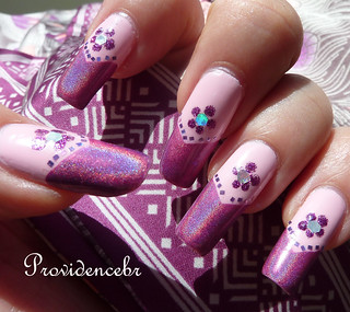 Nail art French Rosa