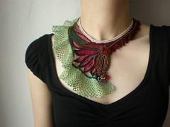 Bugula Neritina ... Freeform Beaded Crochet Necklace
