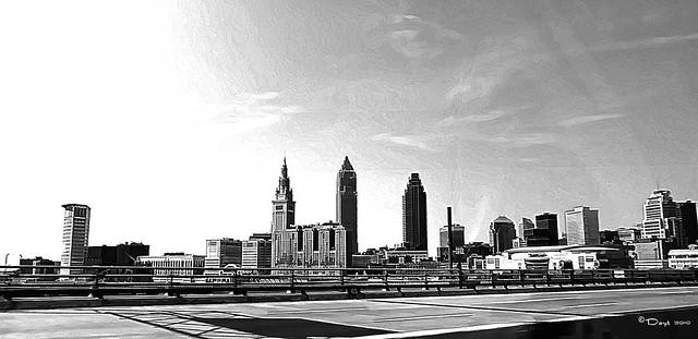 Cleveland Skyline BW