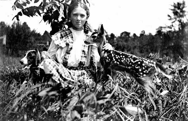 Eloise Morris with dog and fawn