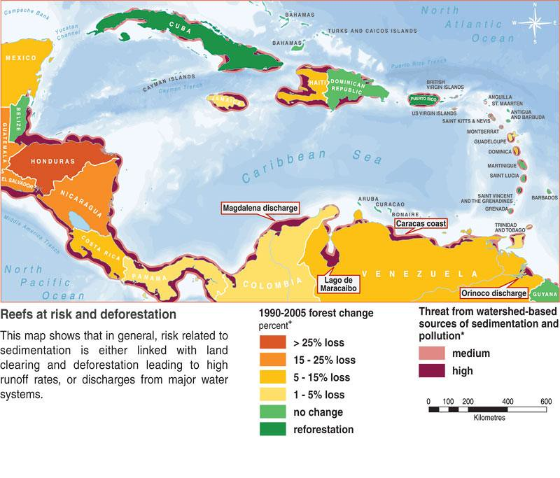 Map Of Deforestation And Threats To Coastal Water Quality Flickr - Us-water-quality-map