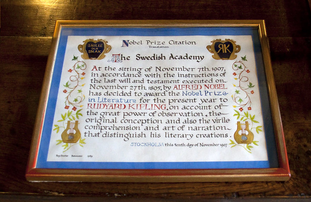 Rudyard Kipling Nobel Prize Citation