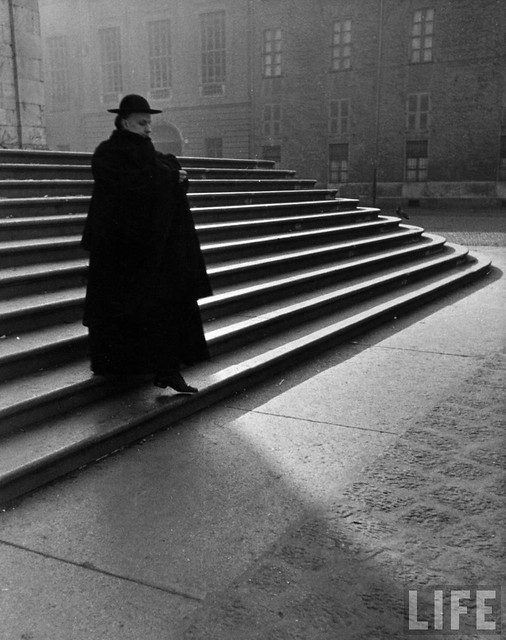 Italian Catholic priest majestically descending stairs, Rome, Italy 1932, by Alfred Eisenstaedt