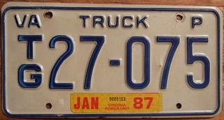 VIRGINIA 1987 ---POWER UNIT SEMI TRUCK PLATE