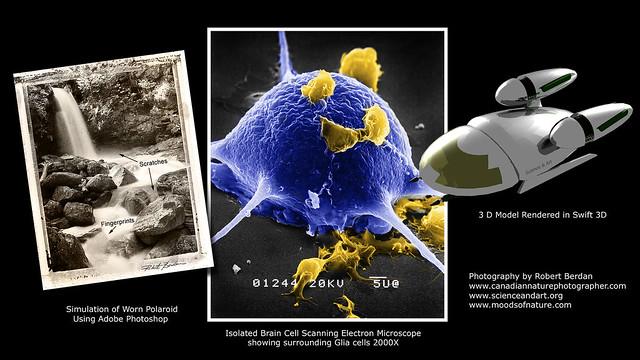 Digitally aged photo, Neuron, 3D space craft