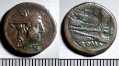 97/8 Luceria L Semuncia. Italian civic mint. Mercury / L; sigma / Prow / L / ROMA. Paris d'Ailly 3386, 2g80