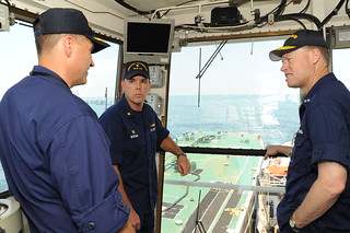 Coast Guard Rear Admiral Inspects Ships In the Nation's Largest Oil Spill Response