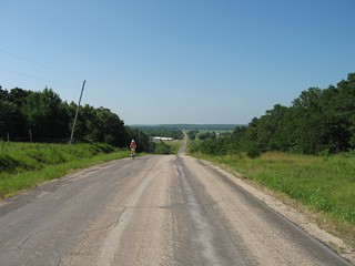 Cycling towards Eureka, KS