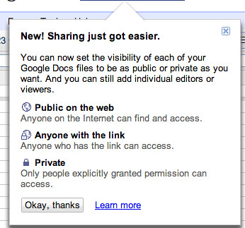 Google Docs new sharing feature