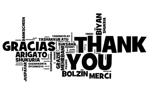 "A text graphic with ""Thank You"" written in a variety of languages."