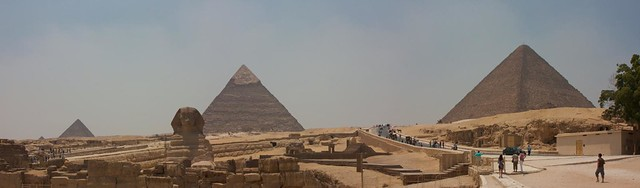 Panoramic view of Giza pyramids