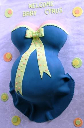 Pregnant Belly Baby Shower Cake In Blue And Lime Green Wit Flickr