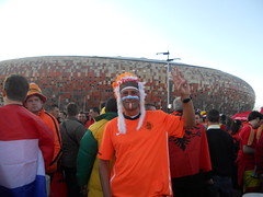 Fan outside Soccer City for final game