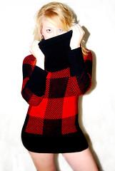 neck(0.0), pattern(1.0), textile(1.0), clothing(1.0), red(1.0), sleeve(1.0), maroon(1.0), outerwear(1.0), design(1.0), tartan(1.0), dress(1.0), plaid(1.0),
