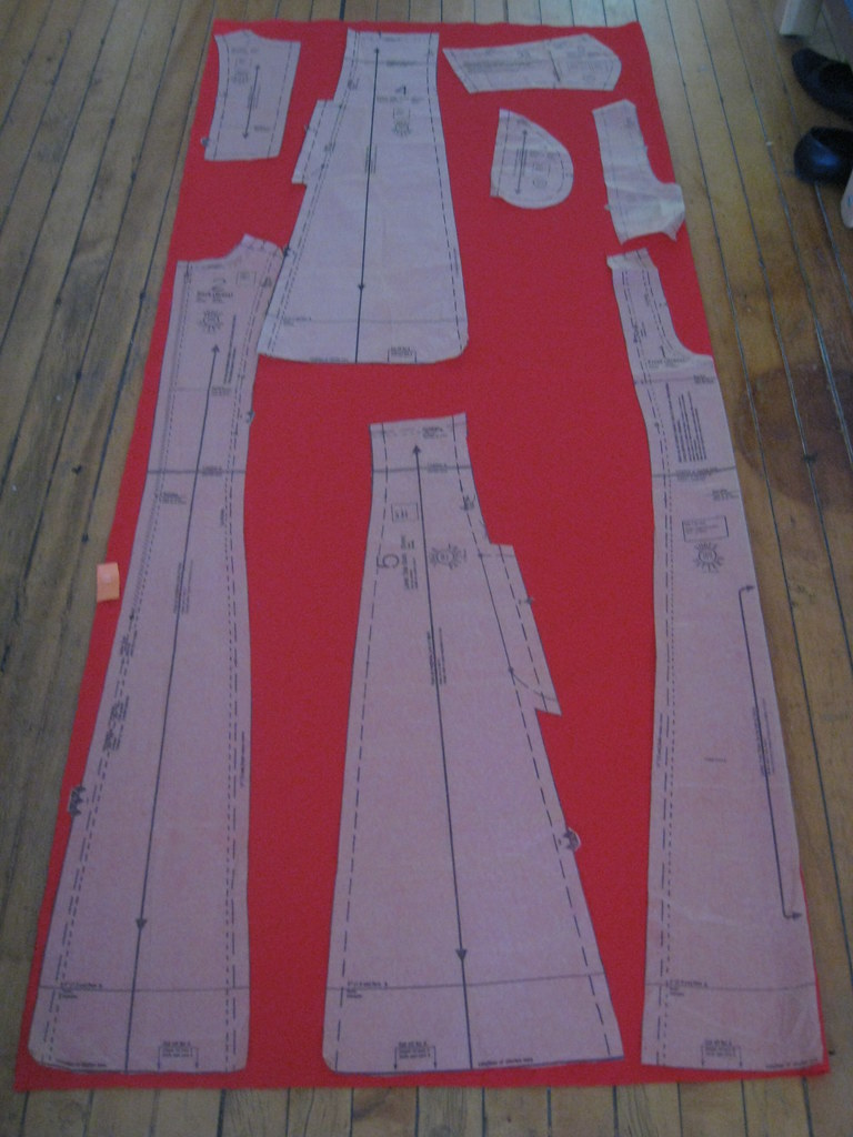 red polyester dress layout
