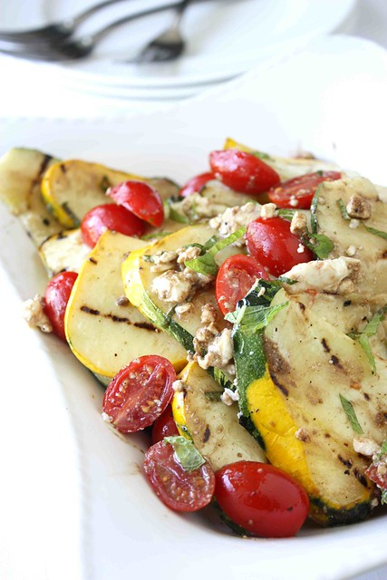 Grilled Pattpan (or Summer) Squash, Tomato & Feta Cheese Salad Recipe ...