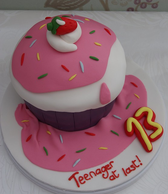 large cupcake birthday cake