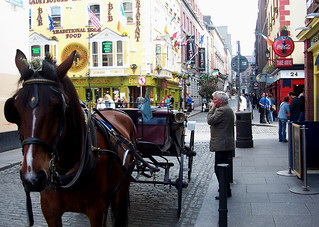 Ireland - Dublin - Temple Bar - Horse Carrage and Owner