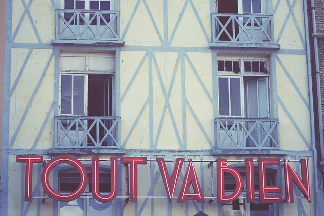 Vintage sign, Dieppe, France by Morning by Foley
