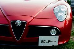 wheel(0.0), automobile(1.0), alfa romeo(1.0), vehicle(1.0), automotive design(1.0), alfa romeo 8c(1.0), alfa romeo 8c competizione(1.0), land vehicle(1.0), luxury vehicle(1.0), supercar(1.0), sports car(1.0),