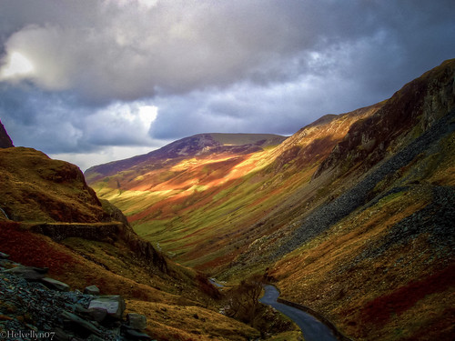 Sunlight over Honister Pass
