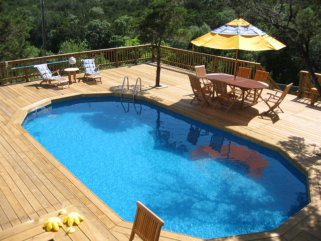 Large wooden decking bexar county large wooden deck - Wood above ground pool ...
