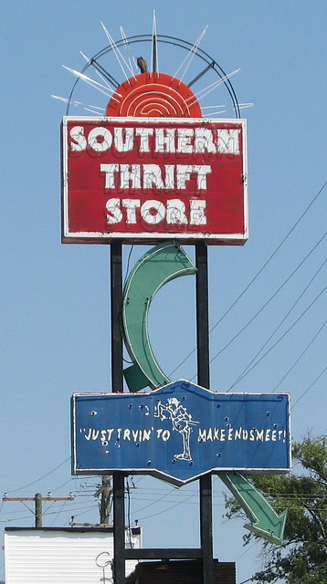 Southern Thrift Store neon sign