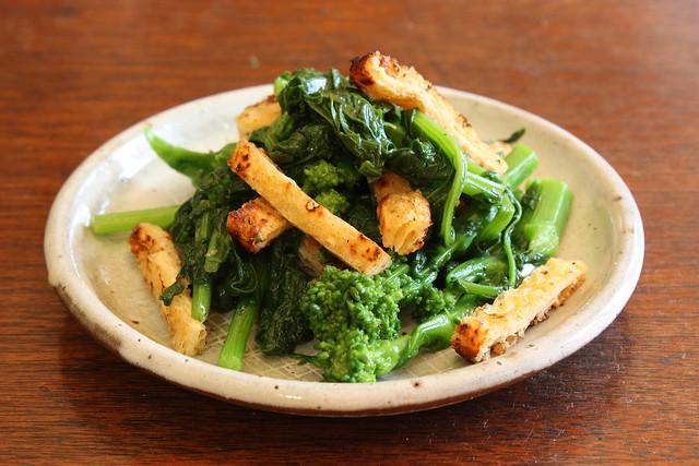 Japanese broccoli rabe, fried tofu croutons, mustard sauce