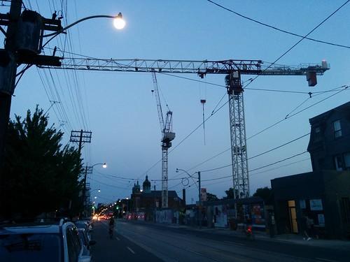 Cranes over Bathurst, between College and Dundas