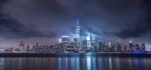 city citylights clouds hudson jerseycity manhattan newyork night sky skyline water waterfront