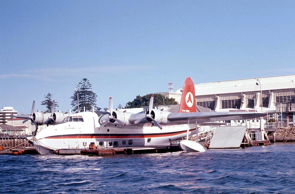 Ansett Sunderland Flying Boat VH-BRC at base at Rose Bay on Sydney Harbour, N.S.W. Australia.