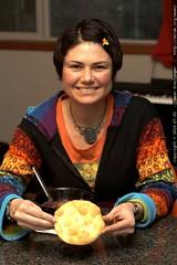 rachel with Bilagáana fry bread & mutton stew
