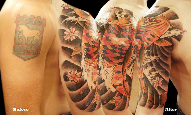 Koi Fish cover up before and after photos