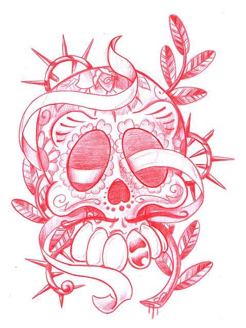 Mexican Skull Tattoo Flash New School Mexican Skull