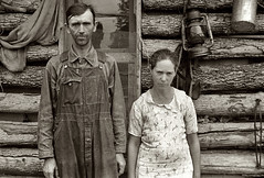 American Gothic, rural rehabilitation clients, Arkansas, by Ben Shahn 1935