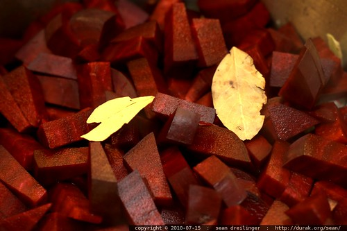 enter the pressure cooker: bay leaves atop the beet borscht