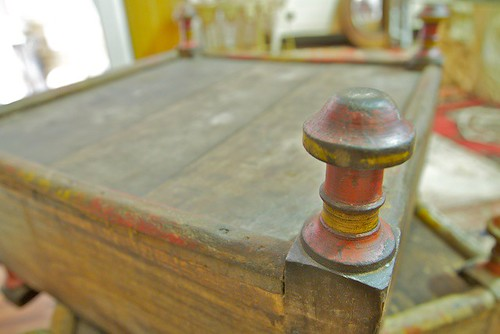 Antique wooden prayer benches