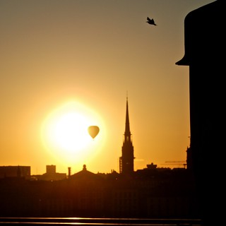 Image of Eclipse. sunset backlight eclipse stockholm balloon 2010 201006