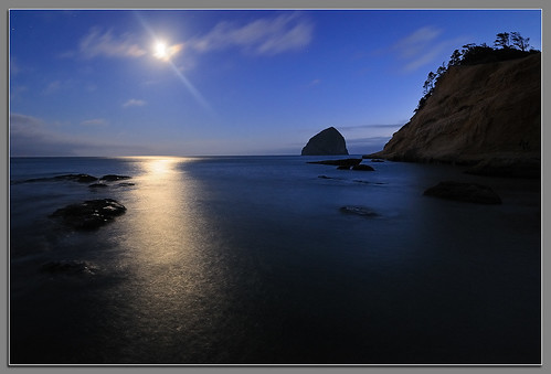 oregon coast nikon pacificocean moonlight capekiwanda d3x andrewkumler