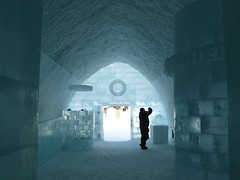 Inside the Ice Hotel reception in Sweden