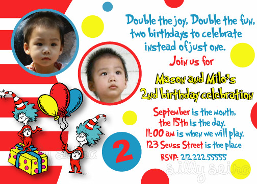 Sillyseiradesign Thing 1 2 Birthday Party Invitation