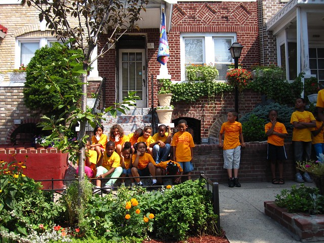 A day camp around the corner from the 2010 Greenest Block in Brooklyn winners stops by to show their support.