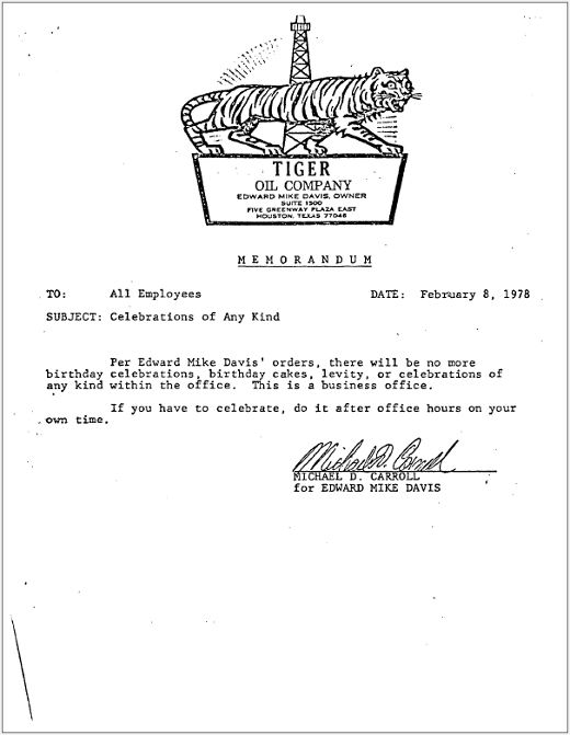 letters of note  the tiger oil memos