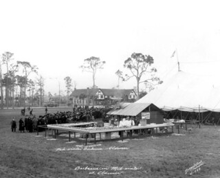 Food laid out for crowds at a mid-winter barbecue: Oldsmar, Florida